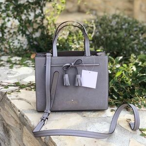 NWT Kate spade small Hayes suede satchel softtaupe